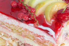Close up Fruit cake with red currant. Fruit Cake with fresh red currant on the plate Royalty Free Stock Photo