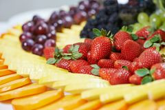 Close-up fruit catering table set Stock Images