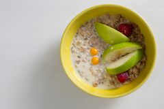 Fruit cereal in bowl Stock Photography