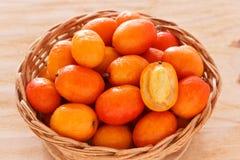Close up Fruit Jocote (Siriguela, Red, Purple Mombin, Hog Plum, Stock Photo