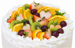 Close up of fruit short cake isolated on white with clipping pat Stock Photo