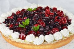 Close up of fruit tart with fresh raspberry Stock Image