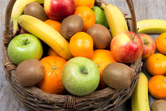 Close up of fruit and vegetable basket Royalty Free Stock Images