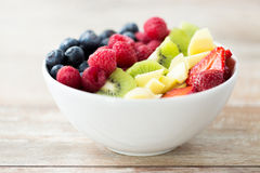 Close up of fruits and berries in bowl on table Stock Image