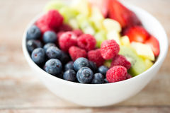 Close up of fruits and berries in bowl on table Royalty Free Stock Photos