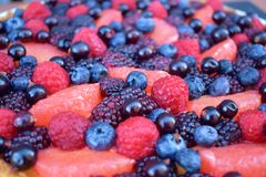 Close up Fruits Berry Fresh Raspberry Blueberry Grapefruit Summer Berries. Homebaked Tart. Homemade Cake. Top view. Wooden Rustic. Close up Fruits Berry Fresh Stock Photo