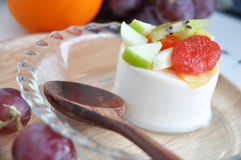 Close Up Fruits Topping on Pudding Royalty Free Stock Photography