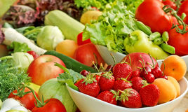 Close-up fruits and vegetables Stock Photography