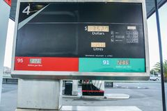 Fuel monitor screen in petrol station. Close up fuel monitor screen in petrol station royalty free stock photo