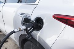 Close-up fuel nozzle. Fill up fuel at gas station. Close up fuel nozzle. Fill up fuel at gas station Royalty Free Stock Photo