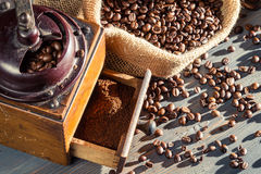 Close-up of a full coffee grinder Stock Image