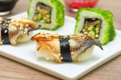 Close up fumado do sushi da enguia Foto horizontal Foto de Stock Royalty Free
