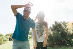 Close up funny beauty portrait of happy hipster couple stock photos