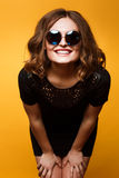 Close-up Funny image of laughing woman,emotional crazy smiling beautiful teen girl Royalty Free Stock Photography
