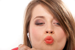 Close up funny teen girl with headphones Royalty Free Stock Photo