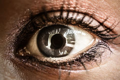 Close up of the furious womans eye. Macro Royalty Free Stock Photo