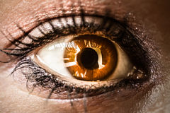 Close up of the furious womans eye. Macro Stock Photos