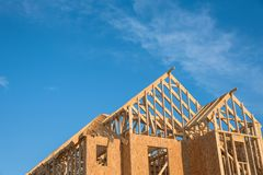 Close-up gable roof wooden house construction Royalty Free Stock Photo