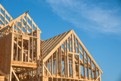 Close-up gable roof wooden house construction royalty free stock images