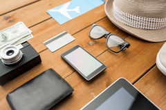 Close up of gadgets and traveler personal stuff Stock Photo