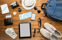 Close up of gadgets and traveler personal stuff Royalty Free Stock Photography