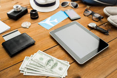 Close up of gadgets and traveler personal stuff Stock Images