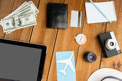 Close up of gadgets and traveler personal stuff Royalty Free Stock Photos