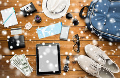 Close up of gadgets and traveler personal stuff Royalty Free Stock Images