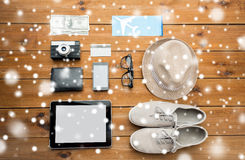 Close up of gadgets and traveler personal stuff Stock Image