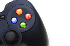Close up of game controller on white screen Royalty Free Stock Image