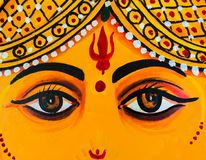 Close-up of Ganesh`s eyes, wall painting in Udaipur City Palace, India Stock Image