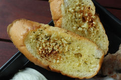 Close up of Garlic bread as side dish for main courses recipe Stock Images