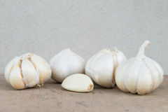 Close up Garlic. Many Garlic   set on timber with Cement Background Stock Photography