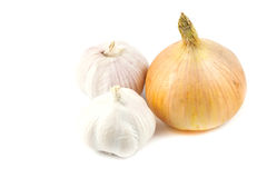 Close up garlic and onions. On white background Stock Photo