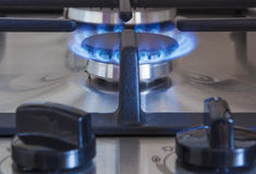 Close up of Gas Burner With Two Regulator Knobs Royalty Free Stock Photo
