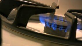 Close up of gas range burner stock video
