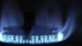 Gas stove blue flame stock video footage
