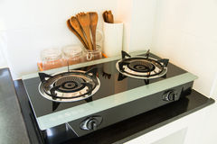 Close up of the gas stove in kitchen room. Modern kitchen interior, Building interior Royalty Free Stock Photos