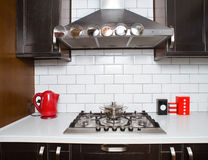 Close-up of  gas stove with a pan Royalty Free Stock Image