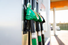 Close up of gasoline hose at gas station Stock Images