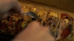 Hot Meat Stuffed With Vegetables And Cheese. Close-up - Gastronomic Menu - Hands In Pothooks Put On The Table Meat Stuffed With Vegetables And Cheese Baked In stock video
