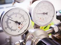 Close up gauges and valve. On nitrogen gas cylinder in laboratory Royalty Free Stock Photos