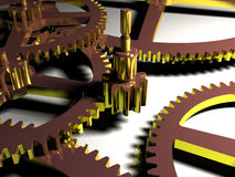 Close-up of gear. Gear Cog-wheels lay on the white background three-dimensional model Stock Illustration
