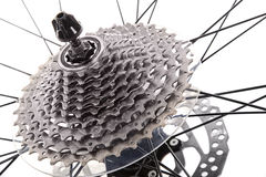 Close up of gear  train rear wheel for mountain bike. Royalty Free Stock Images