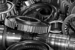 Close up of gearbox gears in black and white photo Royalty Free Stock Photo