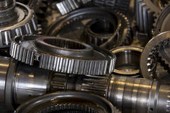 Close up of gears in car factory, car part, industries and manufacturing Stock Images