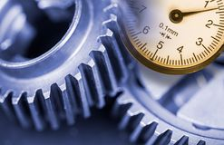 Close-up of gearwheels measurement Stock Photo