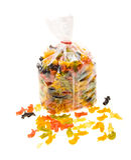Close-up gekleurde deegwaren in de verpakking van zak Stock Foto