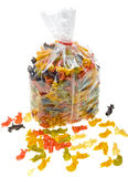 Close-up gekleurde deegwaren in de verpakking van zak Royalty-vrije Stock Afbeeldingen