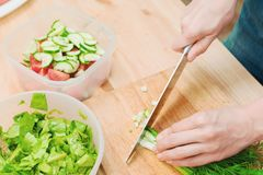 Close-up of gentle female hands slice on the wooden board the stalks of green onions making salad. The concept of a. Vegetarian healthy food and lifestyle Royalty Free Stock Images